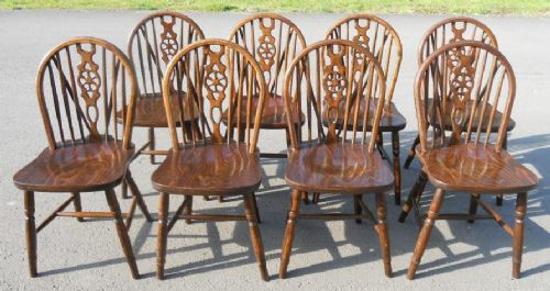 Set of Eight Beech Wheelback Kitchen Dining Chairs